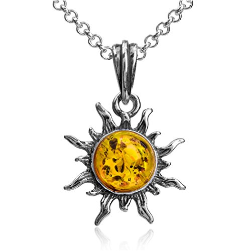 Ian and Valeri Co. Amber Sterling Silver Flaming Sun Pendant Necklace Chain (Amber Yellow Pendant)