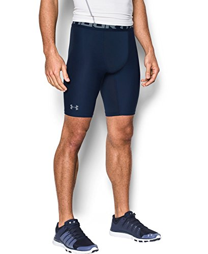 Under Armour Men's Heatgear Armour Long Compression Shorts, Midnight Navy/Steel, X-Small