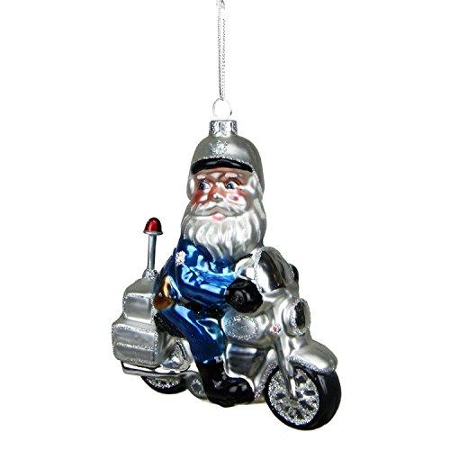 Northlight Glass Santa Policeman Riding Motorcycle Christmas Ornament 5