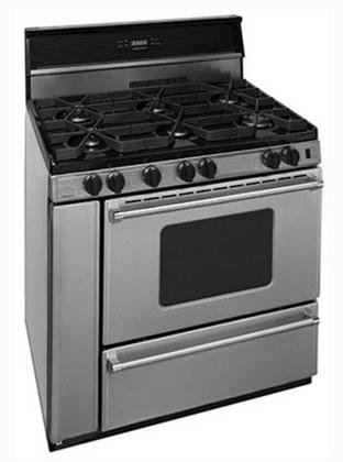 Premier P36S3482PS 36'' Pro Series Gas Range with 6 Sealed Top Burners Separate Broiler Compartment 17 000 BTU Oven Burner Heavy Duty Cast Aluminum Griddle Storage Compartment and In by Premier