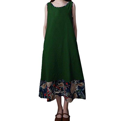 Spbamboo Women Plus Size Folk-Custom Loose Vest Long Section Sleeveless Dress by Spbamboo