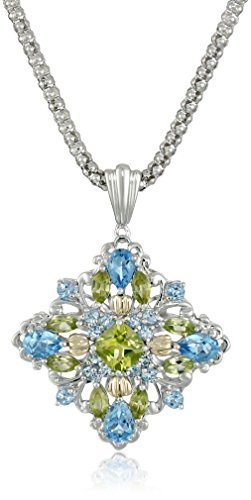 Sterling Silver and 14k Yellow Gold Blue Topaz and Peridot Pendant Necklace, 18