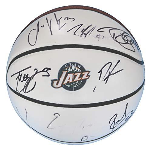 Basketball Team Signed (Utah Jazz 2015-16 Team Autographed Signed White Panel Basketball COA - 11 Autographs)