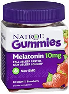 Natrol Melatonin 10 mg Gummies Strawberry - 90 ct, Pack of 4