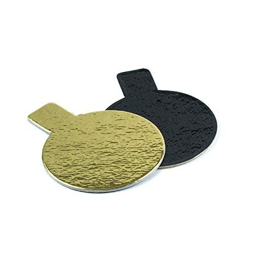 Round Pastry Board with Tab, Gold and Black, 2 Inch Diameter - Pack of 200