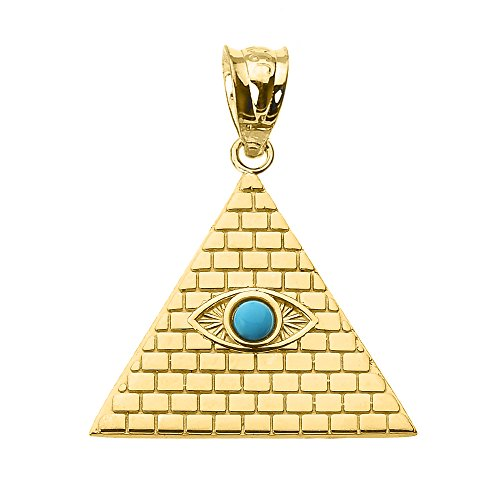 Fine 14k Gold Egyptian Pyramid Charm with Evil Eye Pendant