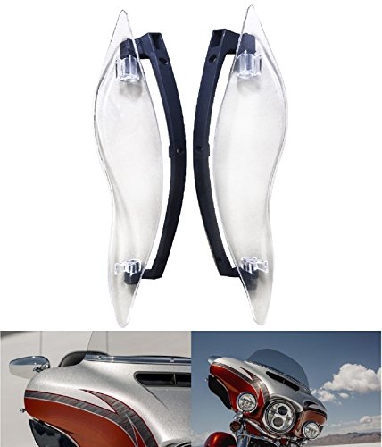 Clear ABS Adjustable Side Wings Air Deflectors Fairing Side Cover Shield For Harley Davidson Touring Glide FL 2014-2017 15 16