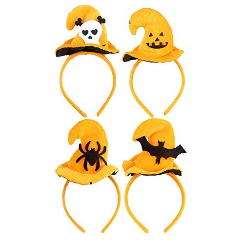 (DKY 4PC Halloween Headband, Pumpkin Orange Witch Hat,Accessories Red Headband Antenna Halloween Pumpkin Jack O Lantern Headband Party Headwear Cosplay Costume for Girls Kids)