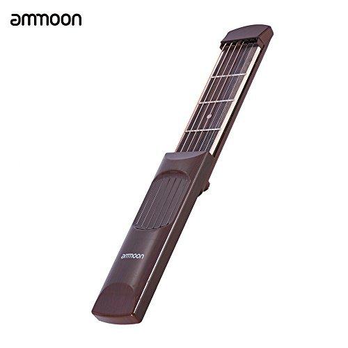 (ammoon Pocket Acoustic Guitar Practice Tool Gadget Chord Trainer 6 String 4 Fret Model Rosewood Fretboard Wood Grain for Beginner Learner)