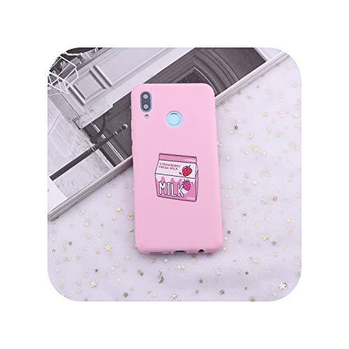 for Huawei Honor Mate 10 20 Nova P20 P30 P Smart Fruit Juice Milk Banana Candy Silicone Phone Case Cover Capa Fundas Coque,Strawberry Milk,P Smart 2019