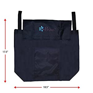 """Priva Wheelchair Bag with Velcro Closure and Exterior Pocket, 19"""" x 14.5"""", Black"""