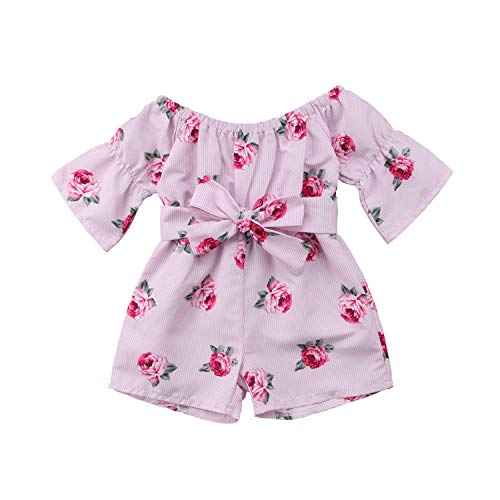Divilon Infant Toddler Baby Girls Outfit Off-Shoulder Rose Floral Print Overall Romper Jumpsuit Trousers Clothes (Pink, 18-24 - Overall Rose