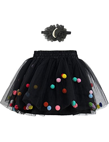 - Zcaynger Baby Girls Toddler Tutu Skirt With Headband Rainbow Pompom Balls Silk Lining, Black, Medium