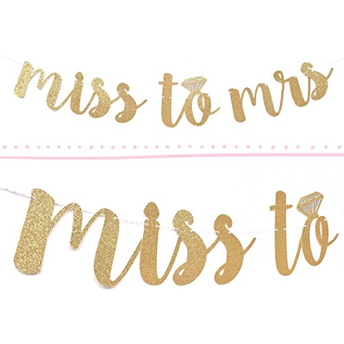 - Miss to Mrs Banner Gold Fancy Felt Glitter Engagement Party Photo Prop Banner Bachelorette Parties Decorations