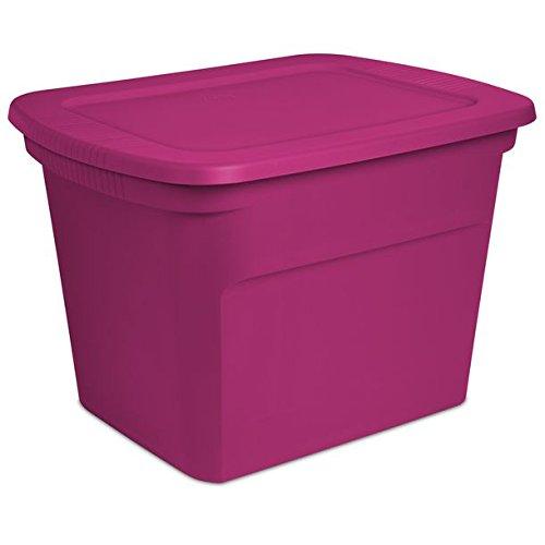 Caja de almecenaje rosa fucsia plastico resistente con tapa 59.7 x 46.7 x 41 cms