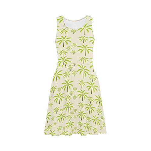 (INTERESTPRINT Women's Sleeveless Tank Dresses Palm Trees Scoop Neck Casual Sundresses XS)