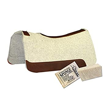 Image of Saddle Pads 5 Star Equine Horse Saddle Pad - 7/8' Thick Western Contoured Natural Pad - The Barrel Racer 30' X 28' Free Sponge Saddle Pad Cleaner Included