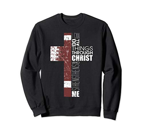 Christian Football Bible Verse Gifts All Things Christ Cross Sweatshirt