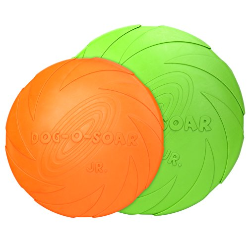 PAWABOO Dog Flying Disc - [2 PACK] Soft Flexible Rubber Fun Floating Foldable Flyer Disc Dog Flying Saucer Toy for Interactive Play Exercising, Green & Orange