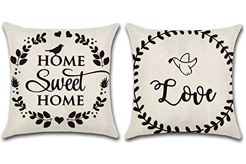JOJUSIS Farmhouse Throw Pillow Covers Decorative Waterproof Pillowcases 18 x 18 Inch Set of 2 Home & Love (Outdoor Pillows Waterproof)