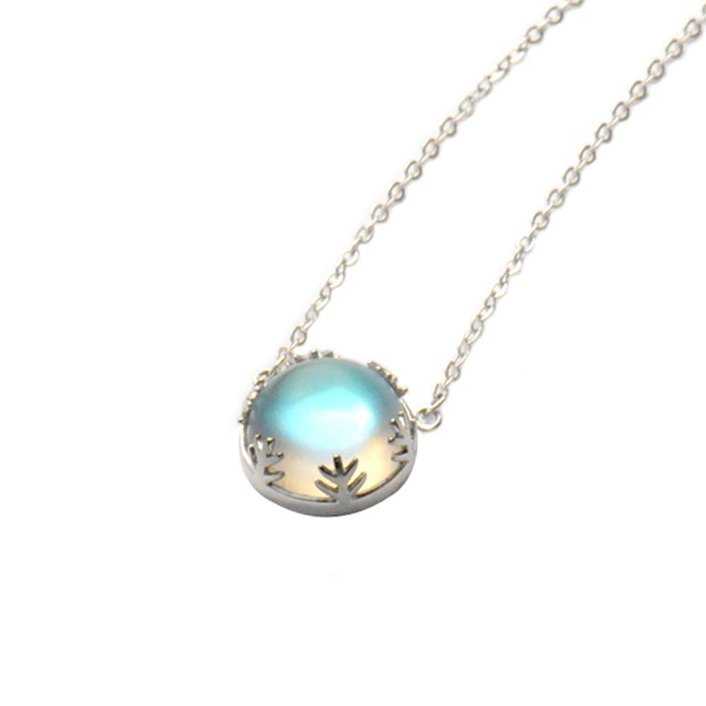 Thaya 925 Sterling Silver Aurora Crystal Necklace Gemstone Pendant Necklace Northern Lights Blue Crystal Jewelry Gifts for Women Girlfriend 22-2 Light//Deep Color