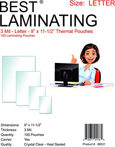 Best Laminating - 3 Mil Clear Letter Size Thermal Laminating Pouches - 9 X 11.5 (100 Pouches) by Best Laminating®