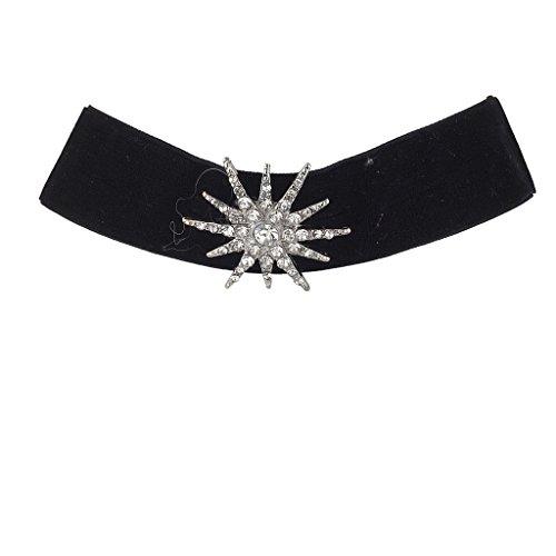 Lux Accessories Wide Black Velvet Choker Rhinestone Pave Silvertone Starburst