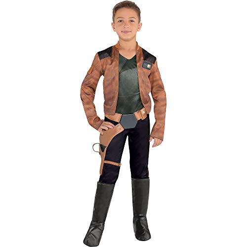 Costumes USA Solo: A Star Wars Story Han Solo Costume for Boys, Size Medium, Includes Jumpsuit, a Belt, and Boot Covers