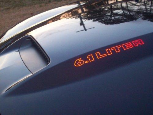 Dodge Cowl Hood (Dodge Charger 6.1 LITER SRT Cowl Hood Decals- Reflective Red)