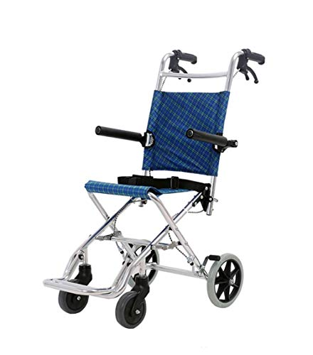 Lahshion Aluminum Alloy Wheelchair,Lightweight and Foldable Frame Elderly Hand Trolley Portable Transit Travel Chair,Blue