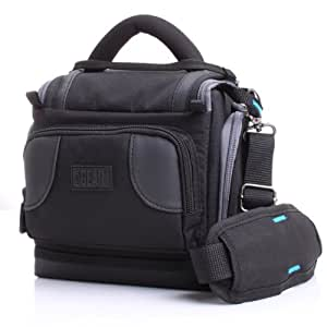 Deluxe Digital SLR Camera Case Bag With Padded Interior Lining by USA Gear - Works with Nikon Coolpix P610 , L840 , D7200 and More Nikon Cameras *Fits Cameras Without Lens Attached*