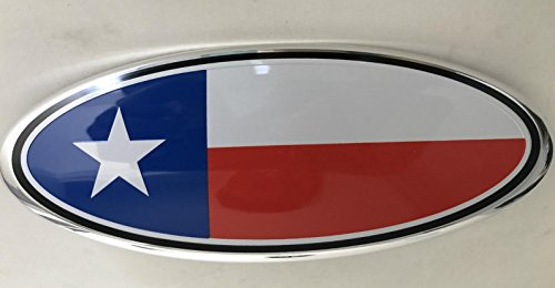 Texas Flag Lone Star Modified Emblem For FORD EXPLORER EDGE F-150 F-250 F350 Rear OVAL EMBLEM FRONT GRILLE Tailgate Rear 9 Inch Badge (Texas Color)