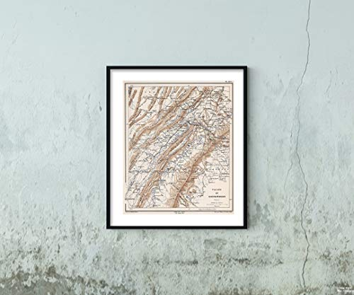 1875 Map|Military Atlas Planche XXVI. Valley du Shenandoah Virginie|Vintage Fine Art Reproduction|Size: 20x24|Ready to Frame