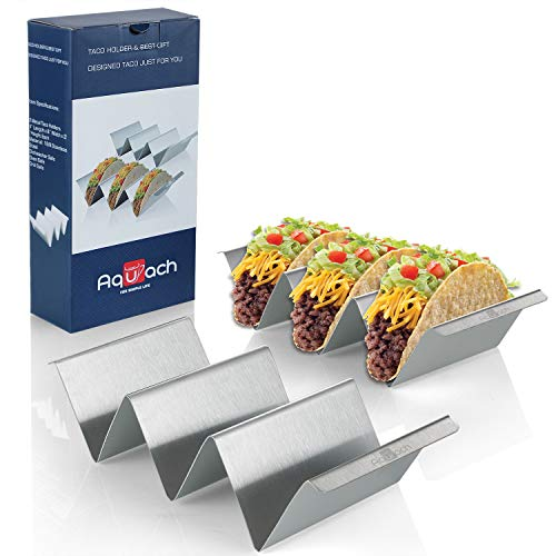 Taco Holders Stainless Steel Set of 2, Oven&Grill&Dishwasher Safe, Taco Accessories for Taco Tuesday Party, Easy-To-Hold Handle, Smooth Edge for Safe Use (Color: Silver, Tamaño: 2 Pack)
