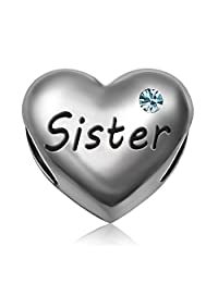 JMQJewelry Sister Heart I Love You Mother Heart Charms Beads Charms for Bracelets