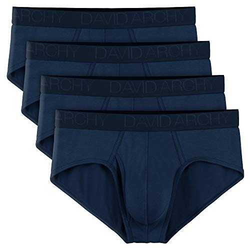 David Archy Men's 4 Pack Bamboo Rayon Soft Lightweight Pouch Briefs with Fly (S, Navy Blue)
