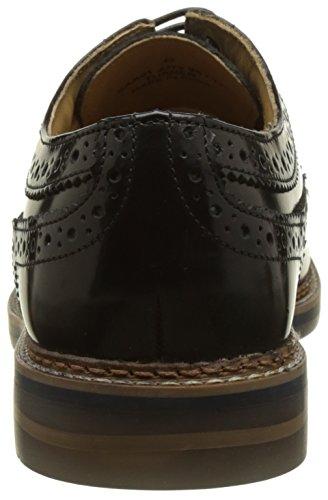 Base London Heren Turner Hi Glans Lace Up Black Brogue Schoen (sc02012) Zwart