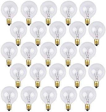 Bombillas de repuesto OxyLED G40 para luces de cadena de jardín al aire libre, con 25 bombillas transparentes, blanco cálido, nivel A [Clase de eficiencia energética A+]: Amazon.es: Iluminación