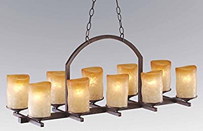 10-light linear Veranda chandelier with rustic glass candle shades