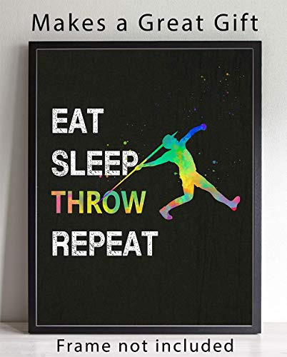 Eat Sleep Throw Sport Wall Art, 11x14 Ideal for Javelin Throwers, Coaches and Fans of Track and Field Athletics