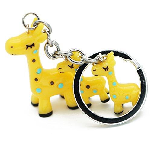 Viawow Resin Giraffe Bag Tote Purse Pendant Ornament Charm Keychain Keyring Car Key Ring Chain (Yellow, K255)