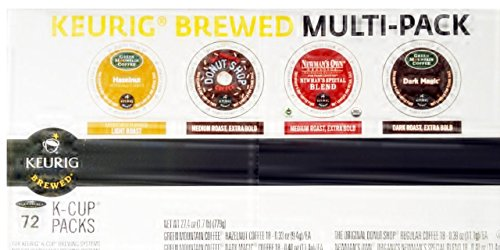 Keurig Brewed Multi Pack 72 K-cup Packs Hazelnut, Donut Shop, Newman's Special Blend, Dark Magic 18 Each