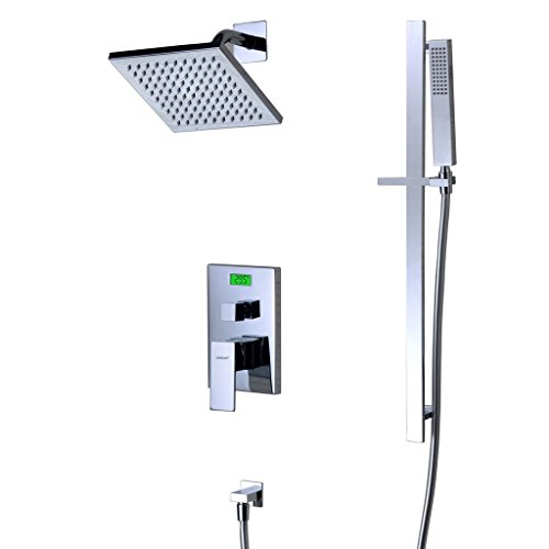 SUMERAIN Digital Display Thermostatic Dual Control Shower Set with Adjustable Brass Riser Kit, 8 Inch Stainless Steel Rain Shower Head SUMERAIN