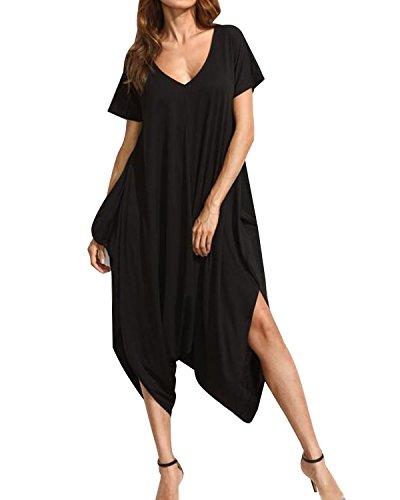 Auxo Womens Harem Jumpsuit One Piece V Neck Summer Short Sleeve Jumper Romper Playsuit Y-Black M