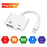Lightning to USB Camera Adapter, Lightning to USB 3.0 Female OTG Adapter Cable Charging Interface iPhone iPad,No App Required[Support iOS 10.3 Above]
