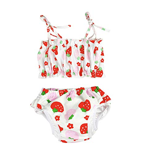 Baby/Toddlers Girls Two Piece Bikini Swimsuit with Reusable Swim Diaper Ruffle Swimwear Flounce Bathing Suit Set(Red-Strawberry, 3-4 Years/Tag: 3XL)
