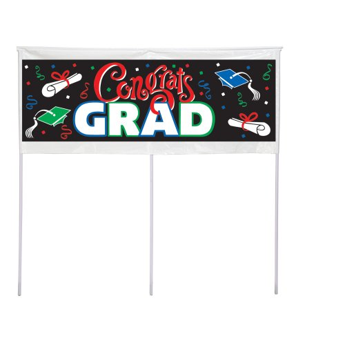 [Creative Converting Yard Banner, 48-Inch, Congrats Grad] (Quick And Creative Halloween Costumes)