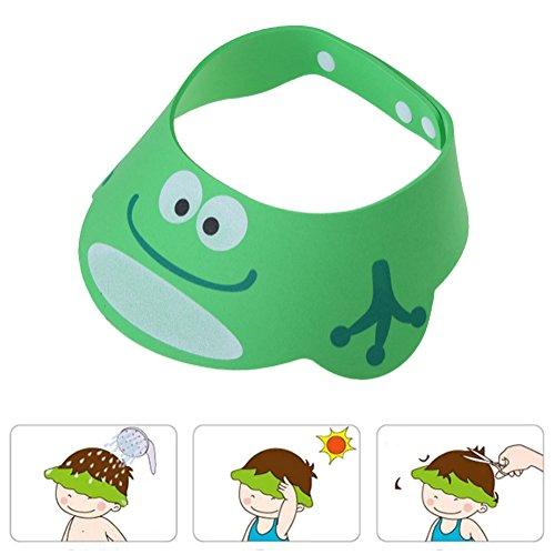 Chinatera Adjustable Baby Kids Safe Shampoo Cap Bath Shower Bathing Protect Soft Cap Hat Wash Hair Ear Shield for Baby Children Kids (Green)