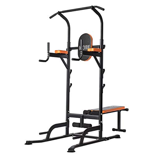 Kicode Power Tower, Workout Dip Station with Sit up Bench, Home Gym Pull Up Dip Station, Pull Up Bar Dip Stand, Adjusting Height Home Strength Training Multi-Function Fitness Equipment