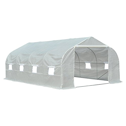 Greenhouse Storage Shed - Outsunny 19.5' Portable Greenhouse Large Walk-in Garden Hot House - White